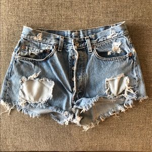 Levi distressed jean shorts